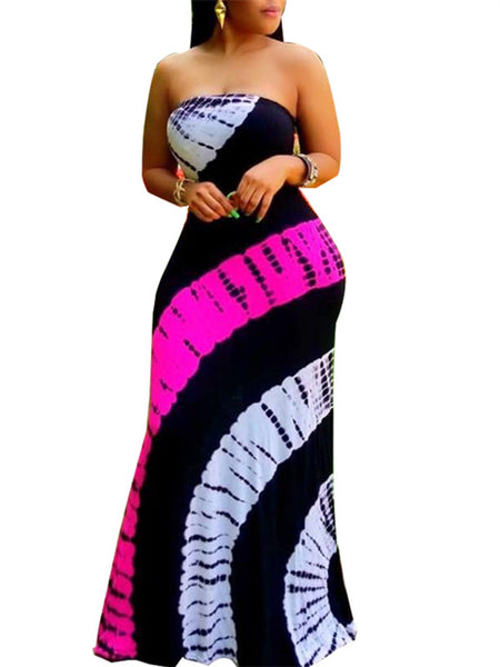 Strapless Open Back Striped Maxi Dress