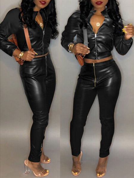 Solid Color Long Sleeve PU Leather Two Piece Outfits