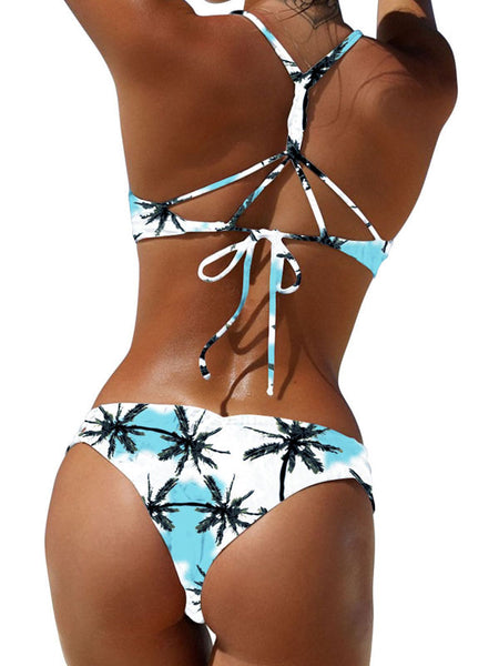 Bandage Slip Print Two Pieces Swimwear