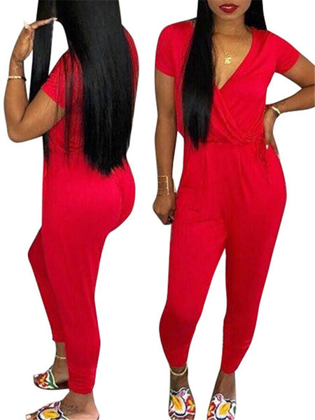 Short Sleeve V Neck Solid Color Casual Jumpsuit
