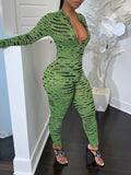 Digital Print Zipper Long Sleeve Jumpsuit