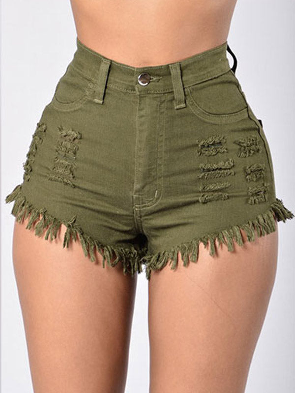Solid High Waist Denim Shorts