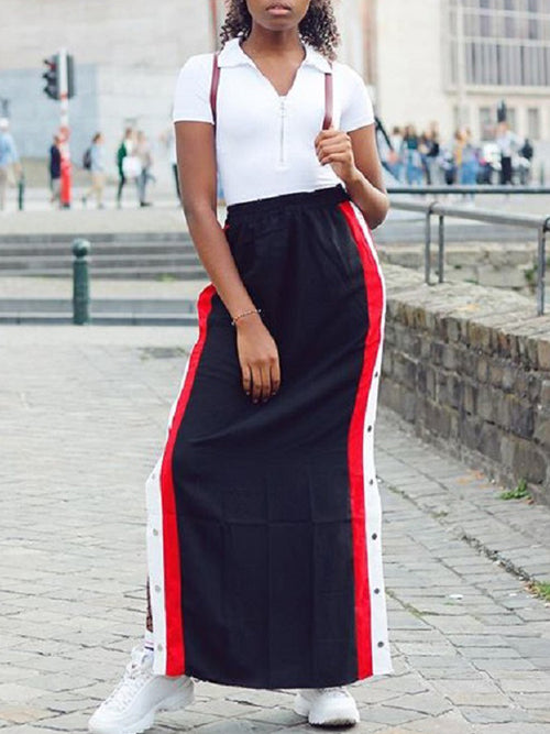Fashion Rivet Color Block Long Skirt