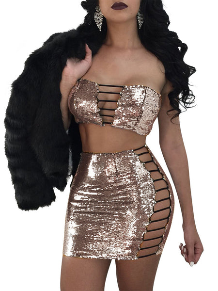 [Special Sale] Off The Shoulder Night Club Two Pieces Mini Dress With Sequins