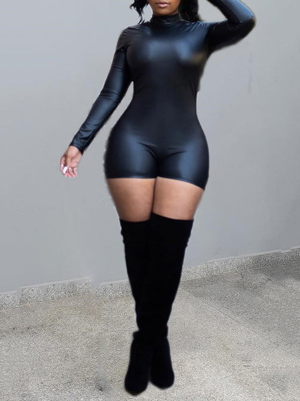 High Neck Leather Long Sleeve Sexy PU Romper