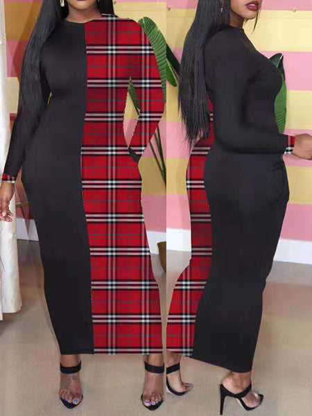 Lattice Splicing Pocket Long Sleeve Maxi Dress