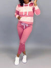 Plus Size Hooded Rainbow Striped Top & Pants