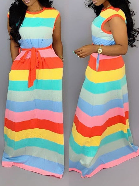 Striped Scoop Neck Sleeveless Maxi Dress