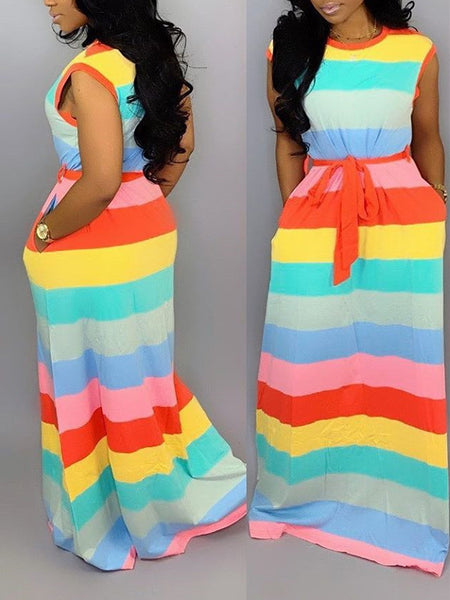 Rainbow Striped Pocket Dress With Belt