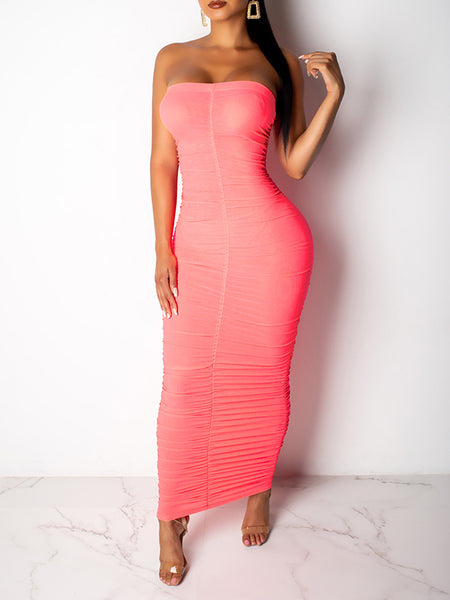 Strapless Solid Color Sleeveless Dress
