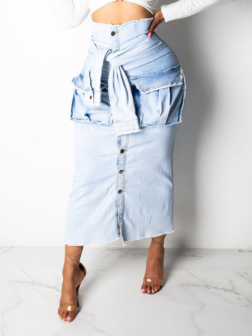 Faux Two Pieces Denim Midi Skirt