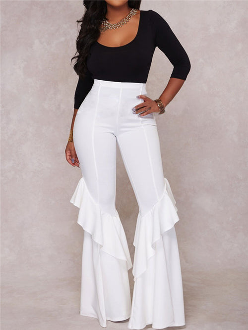 High Waist Solid Color Ruffled Flare Pants