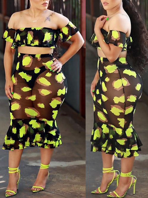 Ruffled See-Through Printed Two Piece Dress