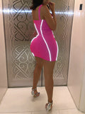 Fluorescent Solid Color Club Mini Dress