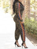 Camouflage Side Rainbow Striped Zipper Up Two Piece Outfits