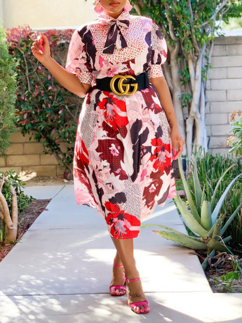 Floral Print Bowknot Puff Sleeve Dress