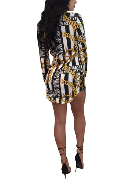 Fashion Chain Print Shirt Dress