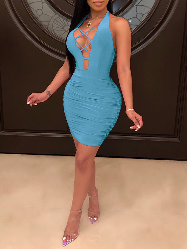 Draped Bandage Open Back Mini Dress