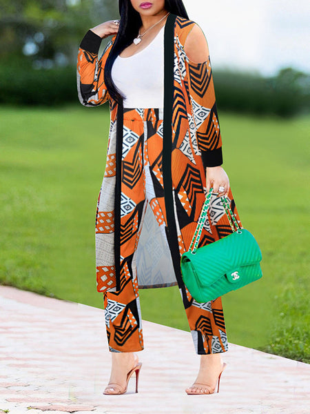 Color Block Long Sleeve Letter Printed Two-Piece Outfits