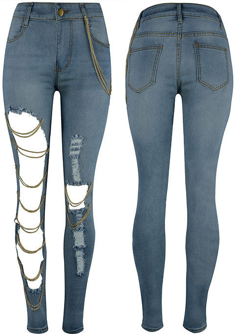 Big Hole Chain Personality Jeans
