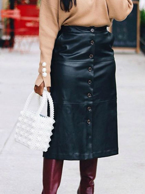 Leather Plus Size Button Solid Color OL PU Midi Skirt