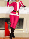 Christmas Long Sleeve Santa Claus Red Blending Party Jumpsuit