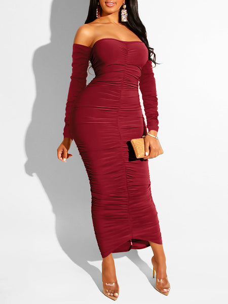 High Slit Hollow Out Strapless Sexy Dress