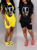 Cartoon Sequined Solid Color Top & Shorts