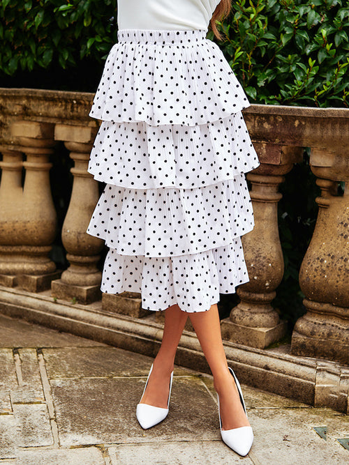 Polka Dot Casual Tired Midi Skirt