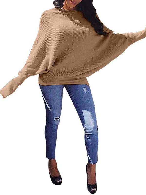 Batwing Sleeve Solid Color Casual Knitted Sweater
