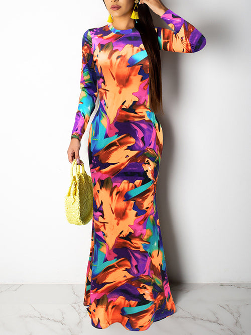 Back Pierced Floral Print Party Maxi Dress