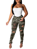 Camouflage Denim Distressed Pocket Jeans
