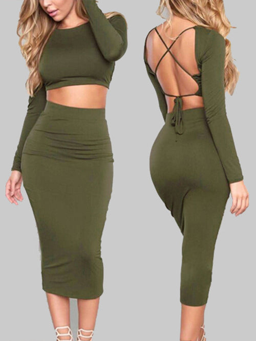 Solid Long Sleeves Backless Two-piece Midi Dress