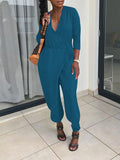 Solid Color V-Neck Jumpsuit With Belt