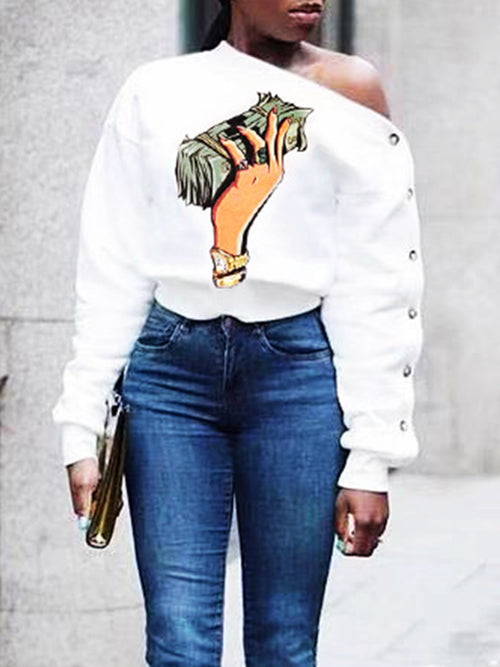 Cartoon Print Eyelet Detail Off One Shoulder Sweatshirt