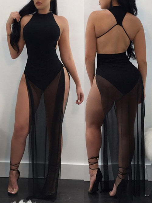 Sexy Split See-through Culottes Maxi Dress