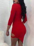 [Special Sale]Sexy Hollow out Irregular Mini Dress
