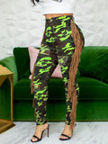 Side Tassels Camouflage Print Bodycon Pants