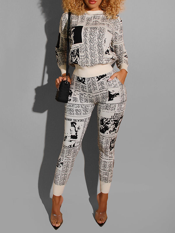 Pocket Digital Print Two Piece Outfits