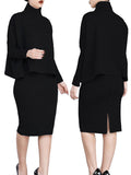 [Special Sale]Solid Long Sleeves Two Pieces Midi Dress