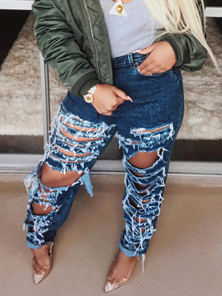 Distressed Denim Solid Color Jeans