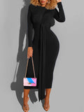 Long Sleeve Solid Color Midi Dress With Belt