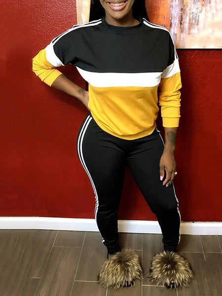 Color Block Plus Size Side Striped Two Piece Outfits