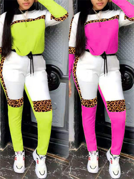 Leopard Patchwork Drawstring Casual Two Piece Sets