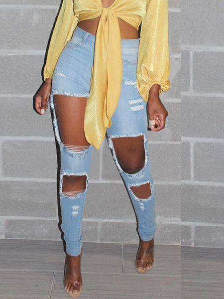 Denim Hole Distressed High Waist Jeans