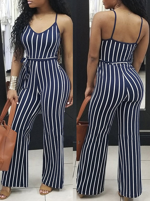 Fashion Sleeveless Stripe Print Jumpsuit With Belt