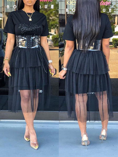 See-through Letter Print Tired Dress Without Belt