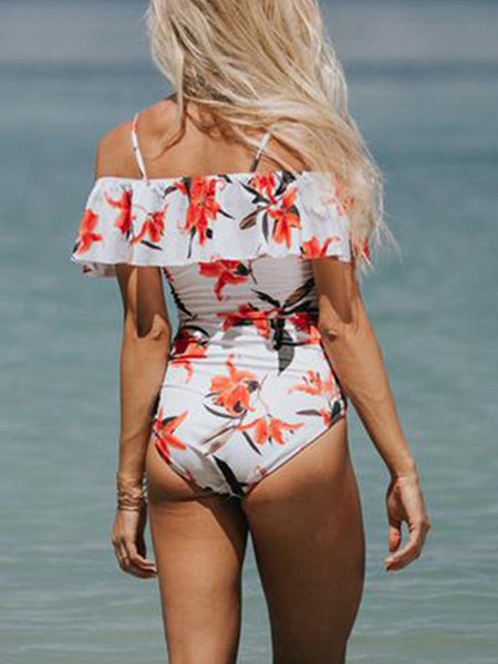 Print Off The Shoulder One Piece Swimwear