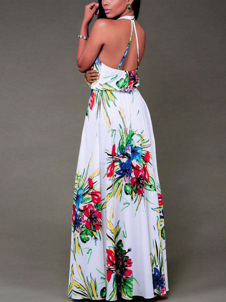 Backless Print Beach Maxi Dress