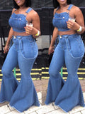 Denim Blue Flared Pants Overall